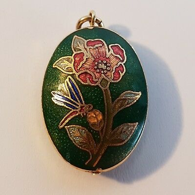 Beautiful solid gold tone enamel dragonfly pendant. Metal detecting find