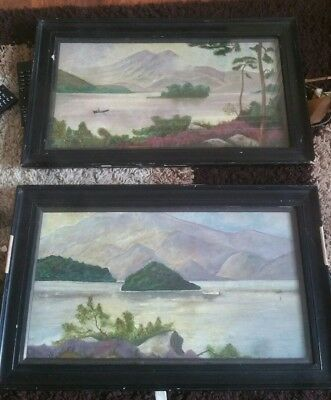 2 x antique oil paintings on canvas