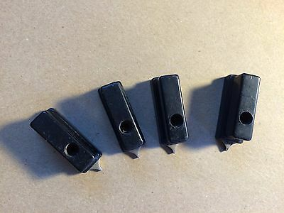 4 Antique LG Black Bakelite Metal Rectangle Pointer Knobs Guitar Amplifier Radio