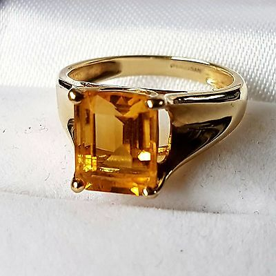 9 Carat Yellow Gold Emerald Cut Citrine Solitaire Ring (Size k) 375