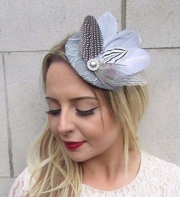 Grey White Silver Feather Fascinator Pillbox Hat Races Wedding Headpiece 3637