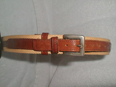 Women's Woven Fabric & Leather Belt  Small Marked R