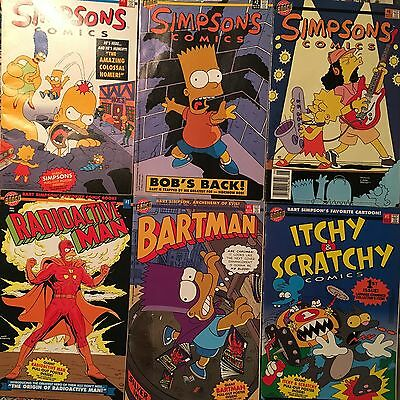 Lot of 6 Simpsons & Related Comics (Bartman, Radioactive Man, Itchy & Scratchy)