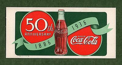 "1936 COCA-COLA (Coke) Unused Blotter - 3½""x7½"", 50th Anniversary, Great Cond"