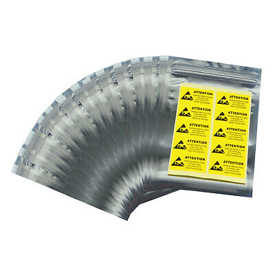 "100 6""x8"" ESD Anti-Static Shielding Bags,Metal In,Open-Top,3.1 mils,For 3.5"" HDD"