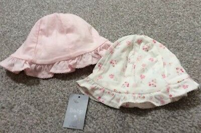 2 Baby Girl Sunhats - New - Pink - 6-12 Months - Gorgeous