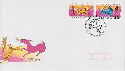 (K42-261) 2003 Christmas Island FDC $2.00 year of the Goat (AD)