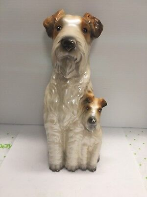 2 Fox Terrier Dog Vintage Statue Sitting 9 inches x 3.5 x 3.5 Some Paint Loss