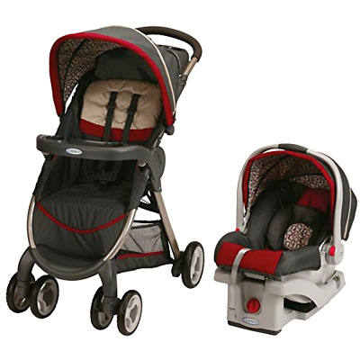 Graco Fastaction Fold Click Connect Travel System Baby Stroller Car Seat, Finley