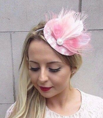 Blush Light Pale Pink White Feather Fascinator Pillbox Hat Races Wedding 3646