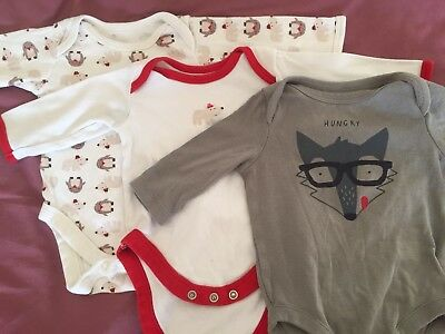 Job Lot Bundle Of 3 Long Sleeve Baby Bodysuits 0-3 Months