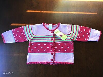 Girls Gymboree Cardigan Sweater 2006 Tiny Hearts Line Sz 12-18 Mos New with Tags