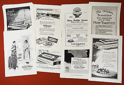 13 Orig. CEREAL Ads ~ early 1900s ~ Nabisco Grape Nuts Post Toasties Quaker Oats
