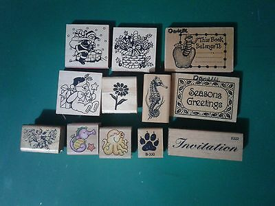 wooden rubber embossing stamps card making scrapbooking  ( lot 4 )
