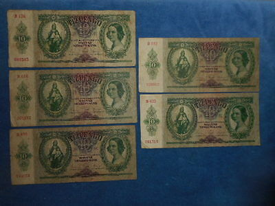 Lot of 5 1936 10 PENGO HUNGARY BANKNOTES CURRENCY MONEY BANK BILL CASH BUDAPEST