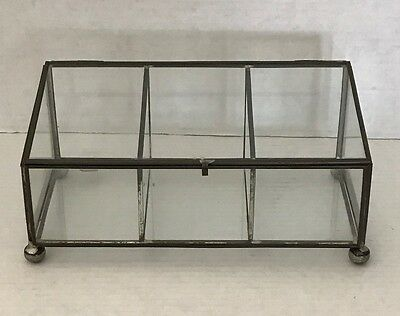Vintage Brass & Glass Display Curio Cabinet Cases rectangle  Shape
