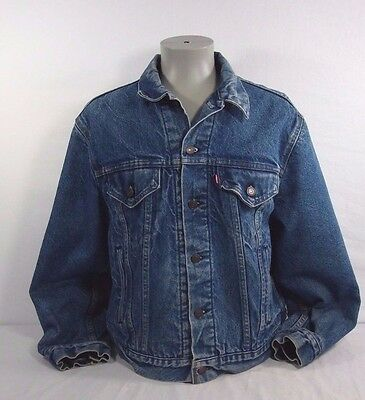 Vintage Levi's Blanket Lined Denim Trucker Jacket Made In Usa Size 48 Oldschool
