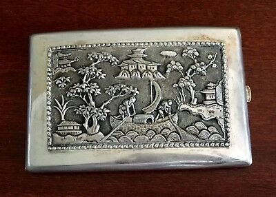 Antique Chinese Silver Cigarette Case Fishermen Signed