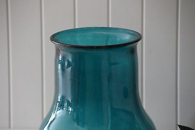 Blue teal glass vase (recycled glass)