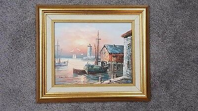 """Painting on Canvas, Framed, of Ship at Dock, Max Savy, 14"""" x 12"""""""
