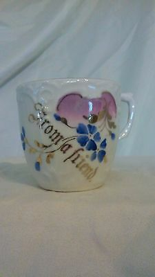 "Antique German Gift Tea Cup ""From a Friend"" Message"