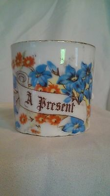 "Antique German ""Gift"" Tea Cup with ""A Present"" Message Banner"