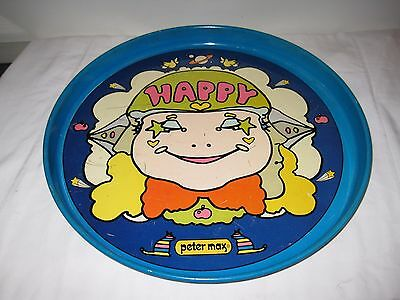 Vintage 70s Peter Max HAPPY Metal Tray Pop Art Psychedelic Kitsch FLOWER POWER
