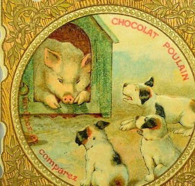 1870's-80's Lovely Pig In A Dog House Puppies Chocolat Poulain Die Cut Card F93