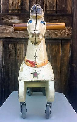 Adorable Vintage Ride On Horse with Wheels Train Rite Red/White/Blue Americana