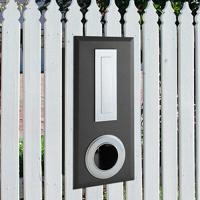 Milkcan Letterbox Charcoal / Chrome Picket Steel Fence Mount Wall Newspaper Ring