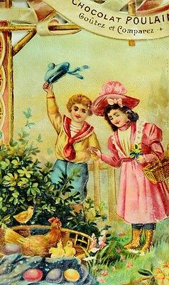 1880's Easter Chicken Chicks Colored Eggs Kids Chocolat Poulain Die Cut Card *R