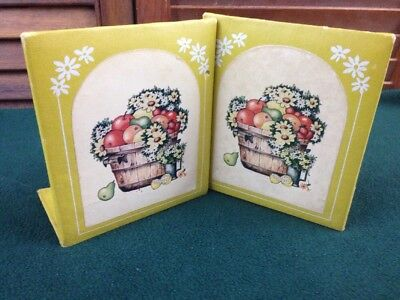 Vintage Bookends Stylecraft USA Mustard Yellow Faux Leather Fruit Basket Desk