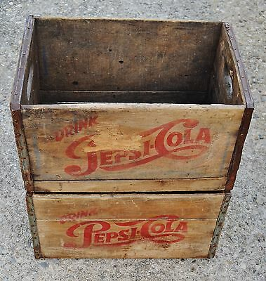Pair Of Vintage 1957 Pepsi Cola Wooden Crates Amsterdam, NY
