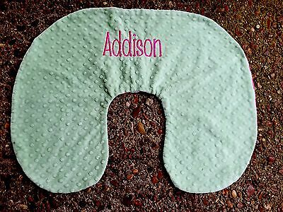 Boppy Pillow Cover Addison Monogram Minky Dot Green Pink White Chevron Girls