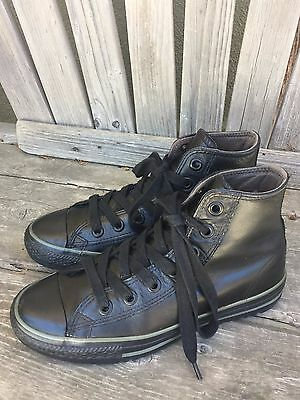 Classic Converse Chuck Taylor Black Leather High Athletic Sneaker US Men 6 Wo 8