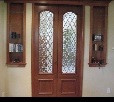 "Antique Cherry Wood French Doors Leaded Glass 22.5"" X 94"" Inch With Hardware"