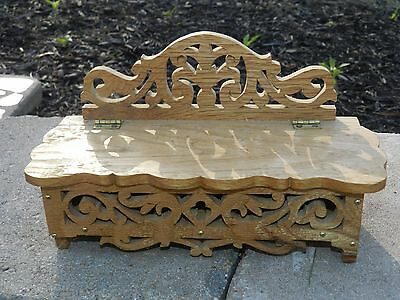 Vtg Wood Scroll Hinged Comb Trinket Box Ornate Woodworking Oak