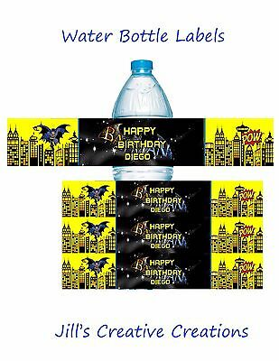 Batman water bottle labels, Batman, Water bottle labels, Birthday