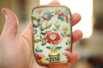 Antique Vintage Pottery Chard Curved Glass Flowers Metal Wrapped 3D Paperweight