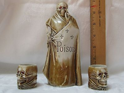 *sale Poison Bottle Decanter apothecary red eyes grim reaper skeleton Cross