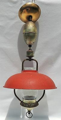 Antique Vintage Hanging Electrified Oil Lamp Red Metal Tin Shade Chandelier 1936