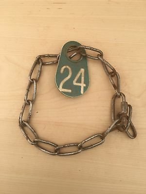 Vintage Cow Farm Animal Chain Collar Plastic Number Tag Green 24 Necklace