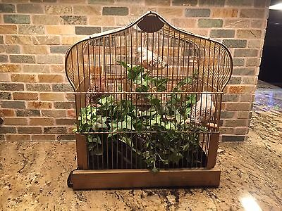 "Vintage Antique Art Deco Crown Gold Bird Cage with Swing 15""Hx14""Wx9""D"
