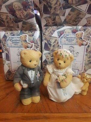 Cherished Teddies Groom-to-Be and Bearly Blushing Bride Figurines