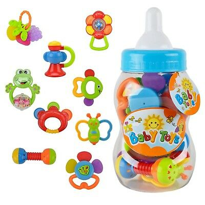 Baby Rattle Teether Toy Set - Wishtime 9pcs Rattle Teether Newborn Toys with ...