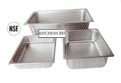 """Steam Table PERFORATED 6"""" Half Size Pans s/s - Lot of 6"""