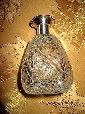 Antique British Cut Crystal Perfume Bottle with Sterling Silver Neck