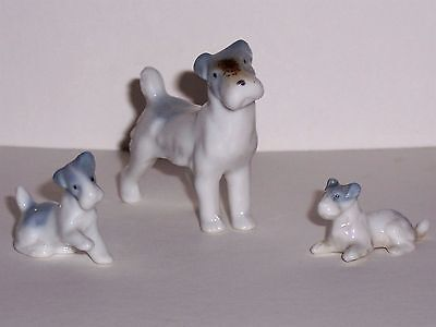 Terrier Figurines Blue and White Ceramic Dog Lot of 3 Miniature Vintage