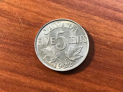 1922 Canada 5 Cents World foreign coin Excellent Condition