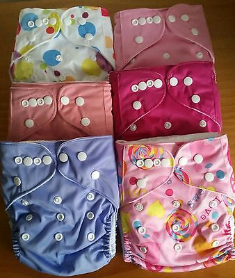 New 6 x  Washable, Leakproof Modern Cloth Nappies